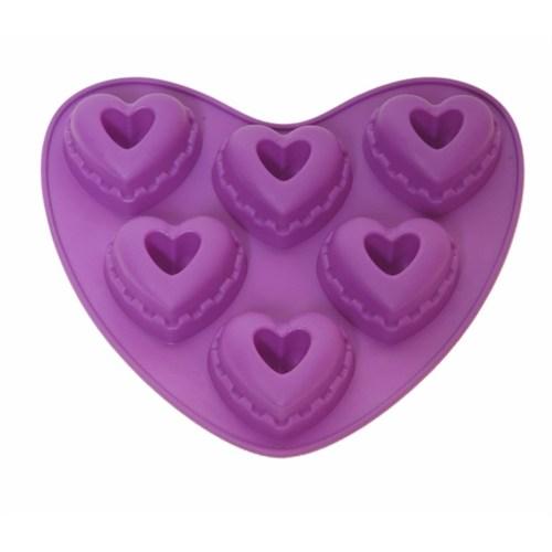 Atadan 6 Lı Kalp Silikon Kek Kalıbı-Mor
