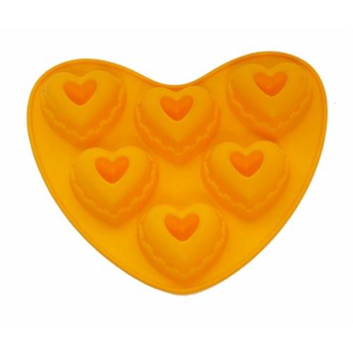Atadan 6 Lı Kalp Silikon Kek Kalıbı-Sarı