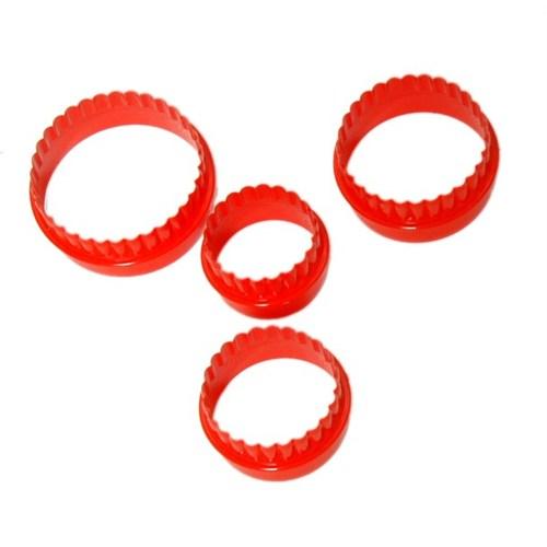 Atadan 4 Lü Yuvarlak Plastik Bisküvi Kalıbı-Kırmızı-Sc271