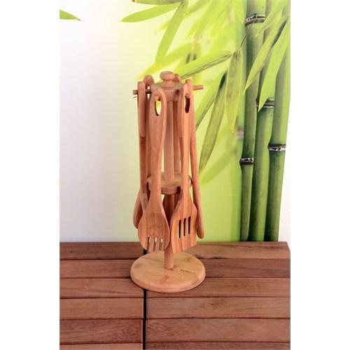 Royal Windsor 7 Parça Lüx Bambu Kaşık Askılı Kaşık Seti