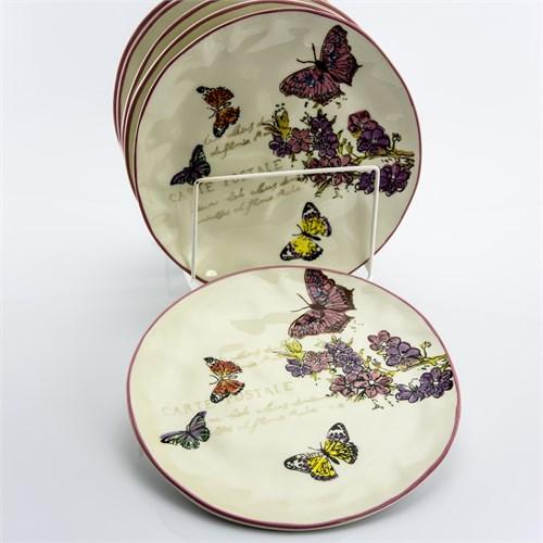 Seramik Kelebek Desenli 6'Lı Servis Tabağı