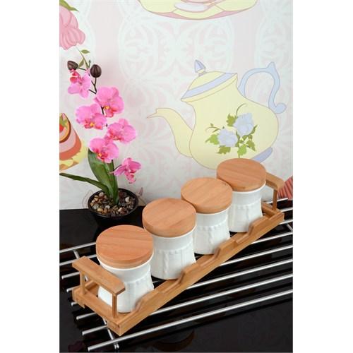 Royal Windsor Bambu Standlı Lüx Porselen 4'Lü Baharat Seti