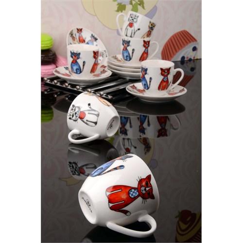 Royal Windsor Kedi Figürlü Lüx Porselen 6 Kişilik Kahve Fincan Takımı