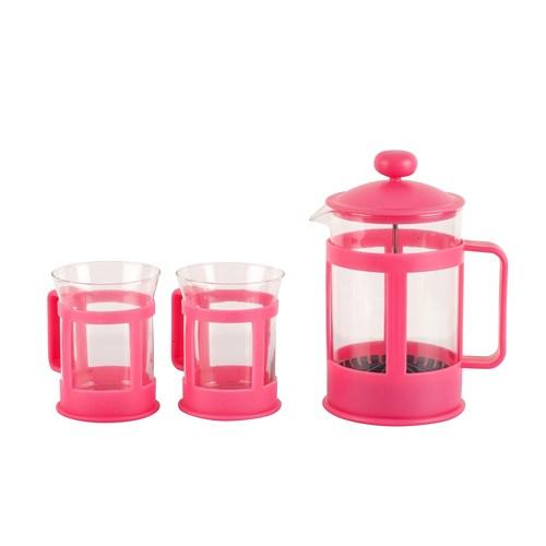 Tantitoni Pembe Çay Kahve Presi 850Ml Ve 2Li Bardak Seti