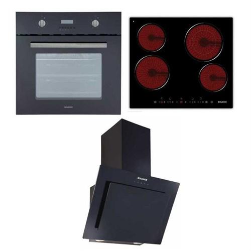 Dominox Ankastre Set (DEO66 BK CHK XS Ankastre Fırın+ DHC 426 TC Ankastre Ocak+ DA 615 V BK A Davlumbaz)