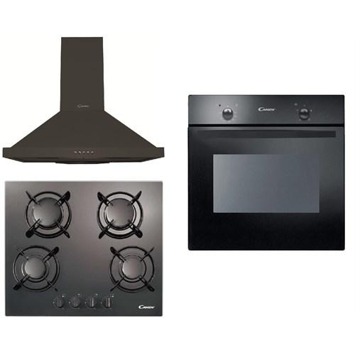 Candy Eco Black 3'lü Ankastre Set(FST 100/6N Ankastre Fırın + PV 640 SN/1 Siyah Cam Ankastre Ocak + CCE 16 NTK Ankastre Davlumbaz)