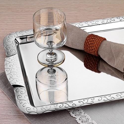 İnter Çelik Çay Tepsi - Hanzade Model Paslanmaz Çelik Çay Tepsi