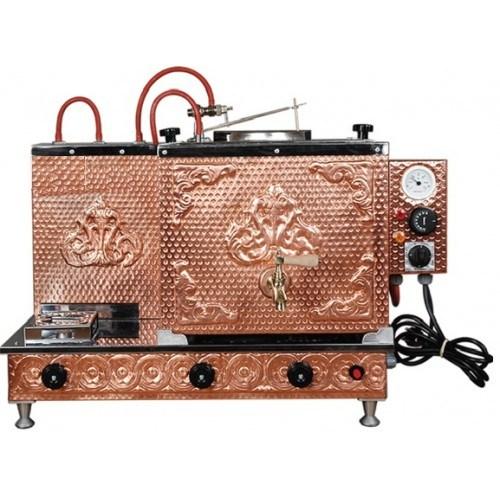 Meşale Bakır Çay Kazanı 2 Demlikli Antik Model Elektrikligazlıful Otomatik