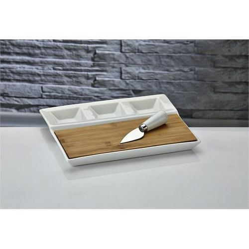 Fidex Home Porselen Bambulu Bıçaklı Peynir Tabağı-Diktörtgen