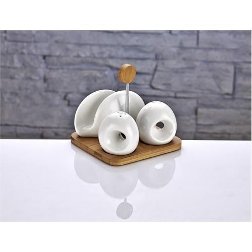 Fidex Home Bambu Porselen Peçetelik Tuzluk Biberlik Takımı