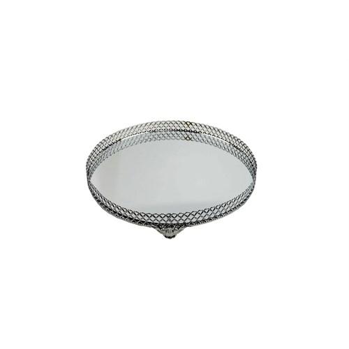 Cosiness Küçük Yuvarlak Gümüş Yaldız Motifli Aynalı Tepsi