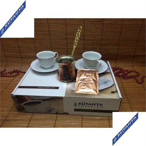 Kütahya Porselen 2 Kişilik Cezveli Kahve Fincanı Takımı
