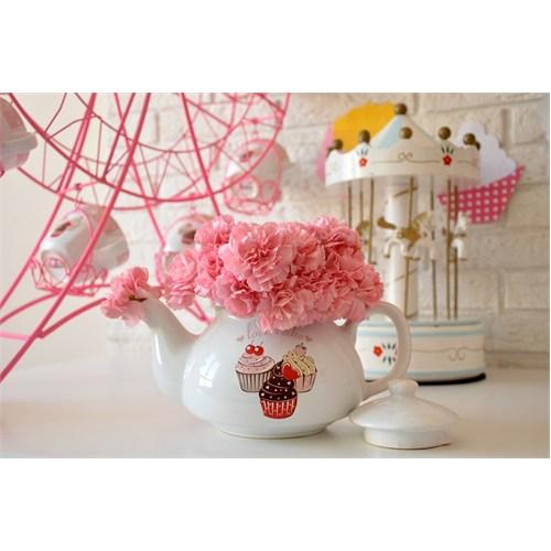Keramika Demlik 9 Cm Beyaz 004 Pink Cake Demlik A