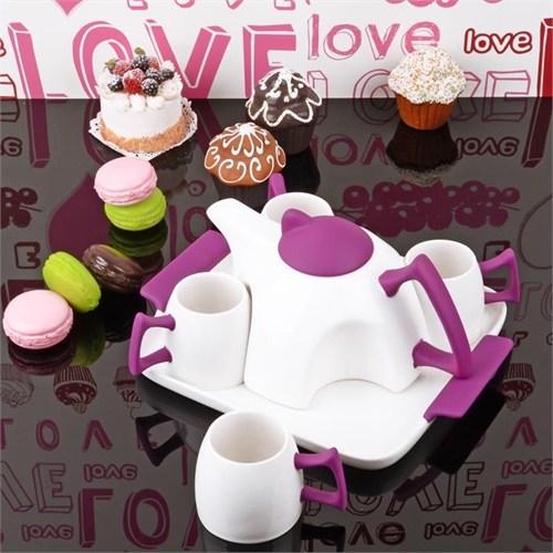 İhouse5644 Porselen Tepsili Çay Seti Mor