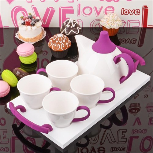 İhouse5650 Porselen Tepsili Çay Seti Mor