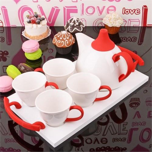 İhouse5651 Porselen Tepsili Çay Seti Kırmızı