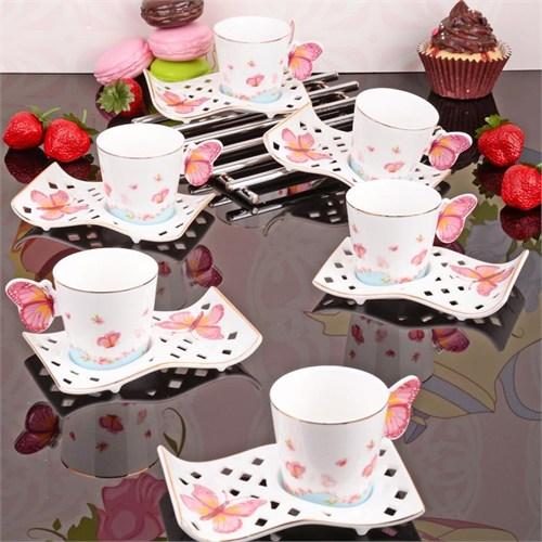İhouse4334 Porselen 6 Lı Kahve Takımı Beyaz