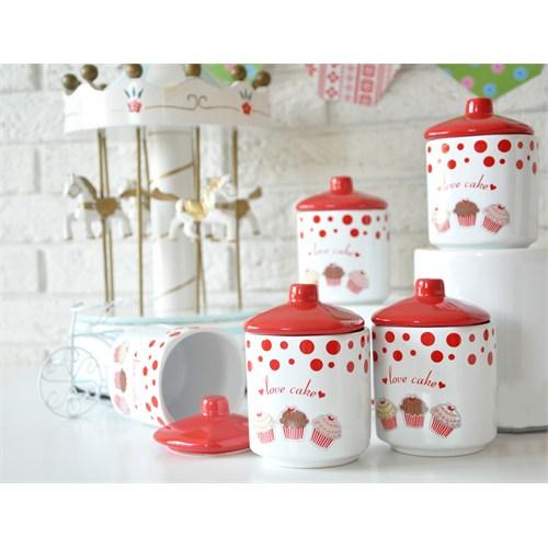 Keramika Takım Baharat Köşem 10 Cm 10 Parça Beyaz004-Kırmızı 506 Fruit Cake A