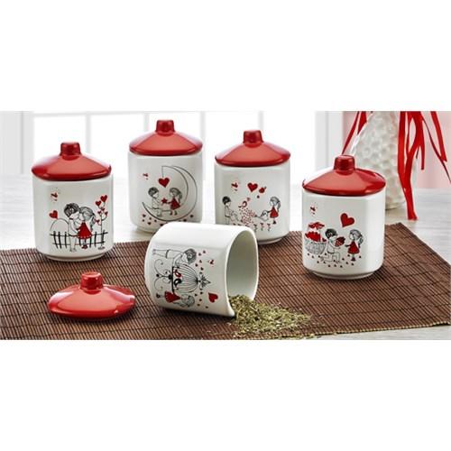 Keramika Takım Baharat Köşem 8 Cm 10 Parça Beyaz 004-Kırmızı 506 Kera-MiraA