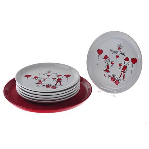 Keramika Takım Pasta Hitit 7 Parça Beyaz004-Kırmızı 506 Yenıyılda Aşk A