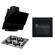 Luxell 3'lü Black Pure Ankastre Set(LX-A6SF2(6DT)Siyah Dijital Ankastre Fırın + LX-40 TAHDF Siyah Cam Ankastre Ocak +LX-735 / LX-730 Siyah Cam Davlumbaz)