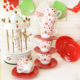 Keramika 12 Parça Çay Takımı Yedi Tepe Beyaz-Kırmızı Fruit Cake