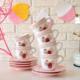 Keramika Yeditepe12 Parça Çay Takımı Beyaz Pembe Pınk Cake