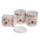 Keramika 3 Parça Saklama Kabı Seti Ege 12 cm Beyaz-Kırmızı Fruit Cake