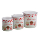 Keramika 3 Parça Saklama Kabı 10-10-12 cm Beyaz Fruit Cake