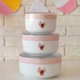 Keramika 3 Parça Saklama Kabı Kera Beyaz Pembe Cake