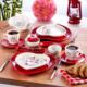 Keramika Set Kalp Kahvaltı 14 Parça Keyfi Aşk Serisi