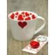 Kitchen Love Porselen Kalp Kupa+Kalp Anahtarlık