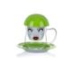 Porio Pr17-1004 - Yeşil Çiçek Desenli Süzgeçli Kupa
