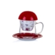Porio Pr17-1003 - Kırmızı Yüz Desenli Süzgeçli Kupa