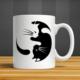 İf Dizayn Ying Yang Kediler Baskılı Kupa Bardak