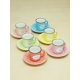 Kitchen Love Stonware 6 Renkli Tabaklı Kahve Fincan Set