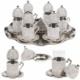 Acar Swarovski Taşlı 6 Kişilik Çay Seti (Tepsi ve Şekerlik Hediye) Gri