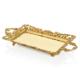 Cemile Mat Altın Dantel Desenli Dikdörtgen Tepsi 51x27 Cm