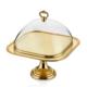 Cemile Mat Altın Yay Desenli Ayaklı Kapaklı Kek Fanusu 30 Cm