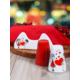 Keramika Set Tuzluk Biberlik Assos Peçetelik Platin 3 Parça Beyaz 004-Kırmızı 506 Keramika Dolu Kalp