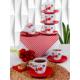 Keramika Takım Çay Yeditepe 12 Parça Beyaz 004-Kırmızı 506 Keramika Dolu Kalp
