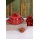 Keramika 2 Parça Mini Emaye Tencere 12 Cm Kırmızı