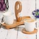 Bambu Tepsili 2 Kişilik Kahve Seti