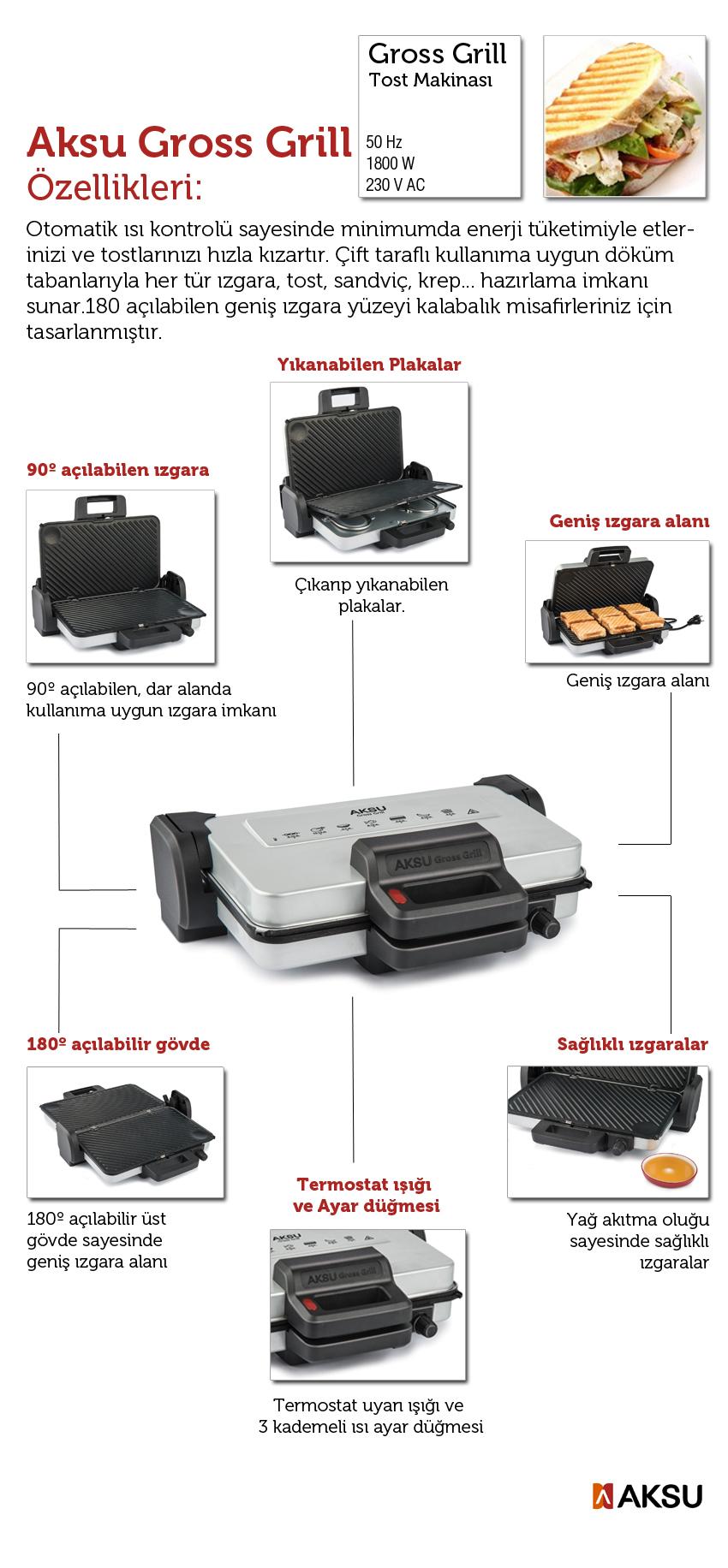 aksu t32 yeni gross grill tost makinası Aksu T 32 Gross Grill Izgara Ve Tost Makinesi Grill