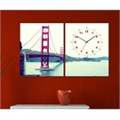 Tabloshop - Golden Gate 2 Parçalı Canvas Tablo Saat - 63X40cm