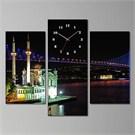 Tabloshop - Boğaz Köprüsü & Ortaköy 3 Parçalı Canvas Tablo Saat - 80X60cm