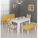 Moda Life Mobetto Papatya Masa Seti Sarı(Bank+Puf+2 Adet Sandalye+Masa)