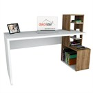 Dekorister Side Çalışma Masası Beyaz/Ceviz