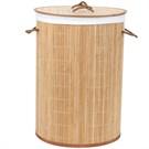 Nova Dekoratif Çok Amaçlı Bambu Çamaşır Sepeti Açık Kahverengi