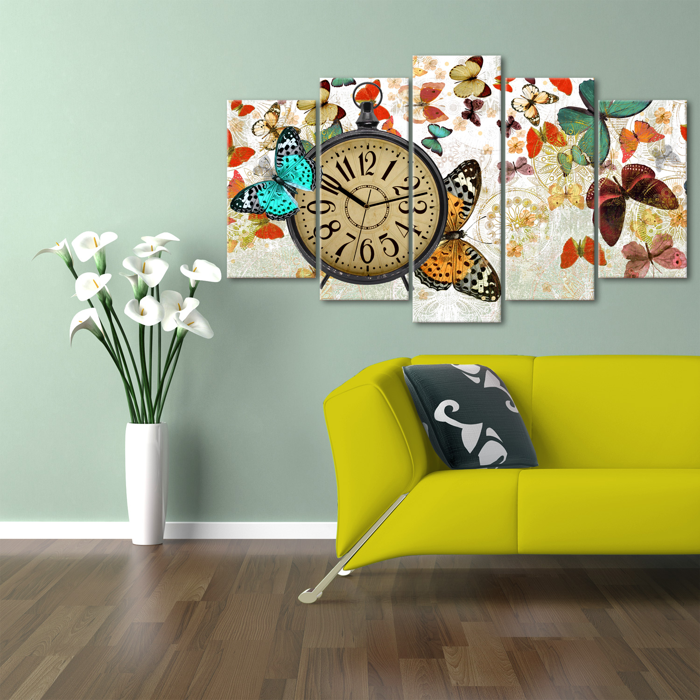 hepsiburada-home-kelebekler-5-par-ccedil-a-saatli-kanvas-tablo